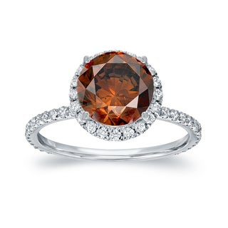 Auriya 18k White Gold 2 3/5ct TDW Brown Halo Diamond Engagement (Brown, SI1-SI2)