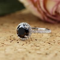 18kt Gold 2 3/5ct TDW Round Black Diamond with Halo Engagement Ring by Auriya