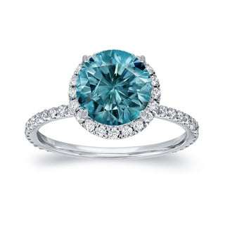 Auriya 14k White Gold 2 3/5ct TDW Blue Diamond Halo Engagement Ring (Blue)