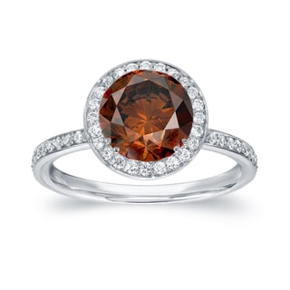 Auriya 18k White Gold 2 2/5ct TDW Brown Diamond Halo Engagement Ring (SI1-SI2)