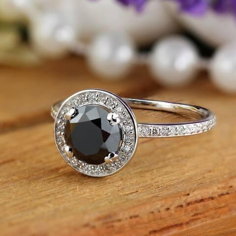 Auriya 18k Gold 2 2/5ctw Black Diamond Halo Engagement Ring