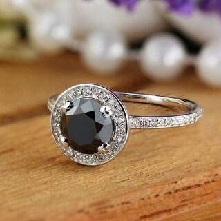 Auriya 2 2/5ct TDW Round Black Diamond Halo Engagement Ring 18k White Gold