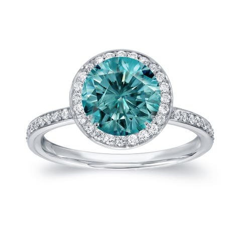 Auriya 2 2/5ctw Halo Blue Diamond Engagement Ring 18k White Gold