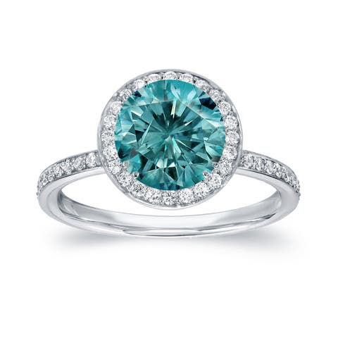 Auriya 2 2/5ctw Halo Blue Diamond Engagement Ring 18k White Gold
