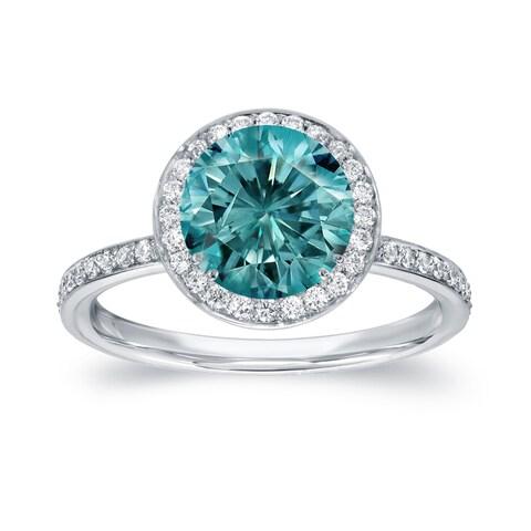 Auriya 18k White Gold 2 2/5ct TDW Blue Diamond Halo Engagement Ring