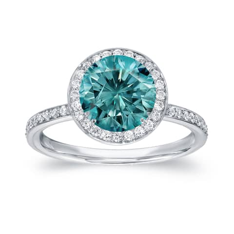 Auriya 2 2/5ctw Round Halo Blue Diamond Engagement Ring 18k White Gold