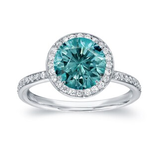Auriya 18k White Gold 2 2/5ct TDW Blue Diamond Halo Engagement Ring