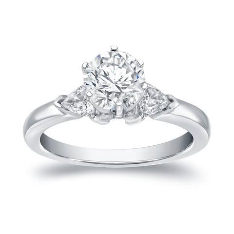 Auriya 14k Gold 1 1/3ctw Round and Trillion 3-stone Diamond Ring