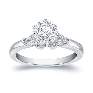 Auriya 14k White Gold 1 1/3 ct TDW 3-Stone Diamond Engagement Ring