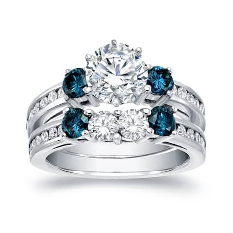 Auriya 2 3/4ctw 3-Stone White and Blue Diamond Engagement Ring Set 14k White Gold Certified