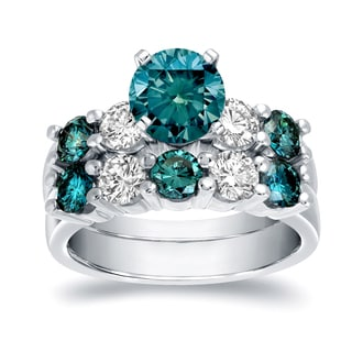 Auriya 14k White Gold 4ct TDW Round Cut Blue and White Diamond Bridal Ring Set (Blue, I-J, SI2-SI3)
