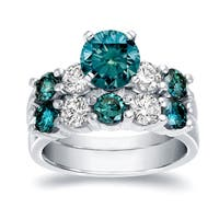 Auriya 14k White Gold 4ct TDW Round Cut Blue and White Diamond Bridal Ring Set (Blue)