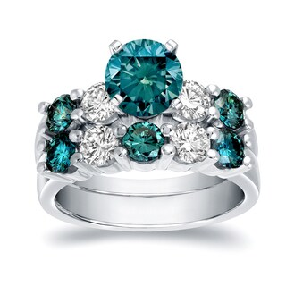 Auriya Modern 4ct TDW Round Blue and White Diamond Bridal Set 14k White Gold