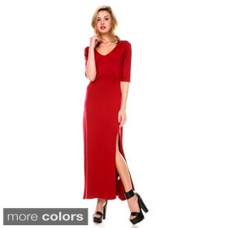 Stanzino Women's V-neck Maxi Dress with Slit