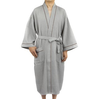Leisureland Men's White Waffle Weave 48-inch Kimono Robe Gray