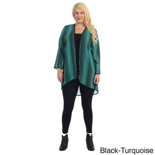 Women's Plus Size Printed Chiffon Cardigan