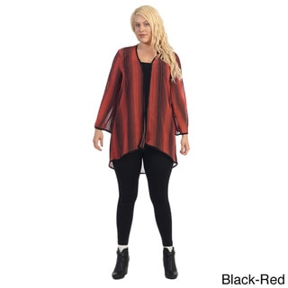 Women's Plus Size Printed Chiffon Cardigan
