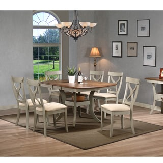 Balmoral Shabby Chic Country Cottage Antique Oak Wood and Distressed Light Grey 7-Piece Dining Set