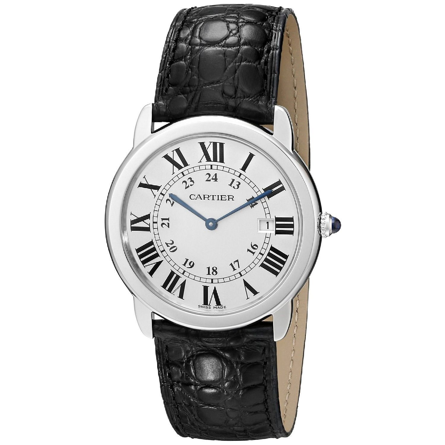 Cartier Mens W6700255 Ronde Solo Black Leather Watch Cartier Mens W6700255 Leather