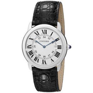 Cartier Men's 'Ronde Solo' Black Leather Watch