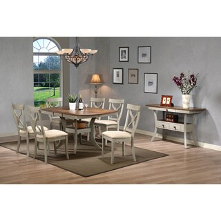 Balmoral Shabby Chic Country Cottage Antique Oak Wood and Distressed Light Grey 8-Piece Dining Set