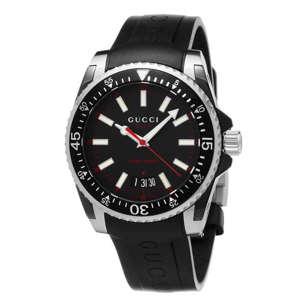 dc61e82d619 Shop Gucci Men s YA136303  Dive  Black Rubber Watch - Free Shipping ...