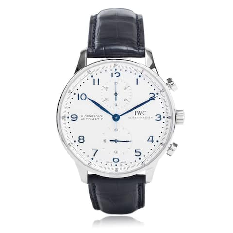 IWC Men's IW371446 'Portuguese' Chronograph Automatic Blue Leather Watch