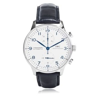 Link to IWC Men's IW371446 'Portuguese' Chronograph Automatic Blue Leather Watch Similar Items in Men's Watches