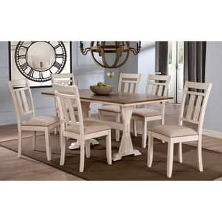 Roseberry Shabby Chic French Country Cottage Antique Oak Wood and Distressed White 7-Piece Dining Set|https://ak1.ostkcdn.com/images/products/10335763/P17445847.jpg?impolicy=medium