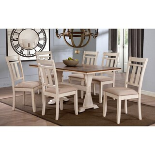 Roseberry Shabby Chic French Country Cottage Antique Oak Wood and Distressed White 7-Piece Dining Set