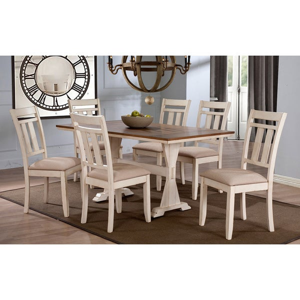 Exceptionnel Roseberry Shabby Chic French Country Cottage Antique Oak Wood And  Distressed White 7 Piece Dining