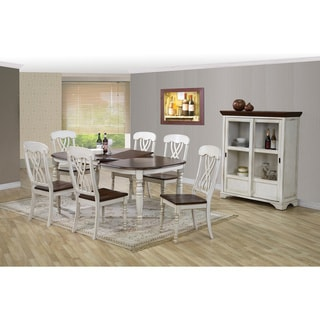 Newman Shabby Chic Country Cottage Antique Oak Wood and Distressed White 7-Piece Dining Set