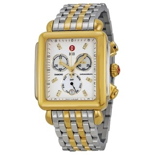 Michele Women's Two-tone Stainless Steel Diamond 'Deco XL' Chronograph Watch