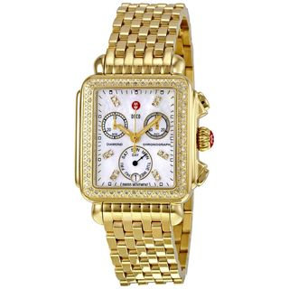 Michele Women's MWW06P000100 'Deco' Chronograph Diamond Gold-Tone Stainless Steel Watch