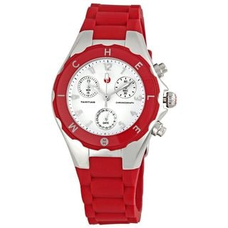 Michele Women's MWW12D000007 'Tahitian Jelly Bean' Chronograph Red Rubber Watch