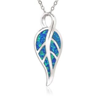 La Preciosa Sterling Silver Created Blue Opal Leaf Pendant