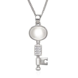 La Preciosa Sterling Silver Cat's Eye and Crystal Key Necklace