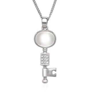 La Preciosa Sterling Silver Cat's Eye and Crystal Key Necklace