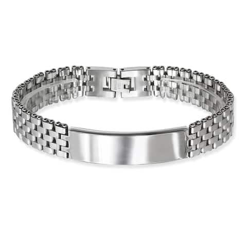 La Preciosa Stainless Steel Men's Watch-style Link ID Bar Bracelet