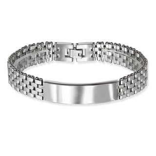 La Preciosa Stainless Steel Men's Watch-style Link ID Bar Bracelet