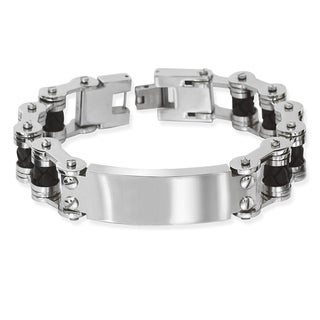 La Preciosa Stainless Steel Men's Black Leather ID Bar Bracelet