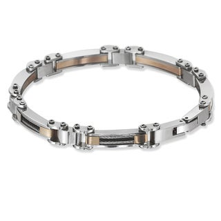 La Preciosa Stainless Steel Men's Tri-color Cable Link Bracelet