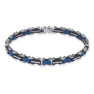 La Preciosa Stainless Steel Men's Tri-color Designed Link Bracelet