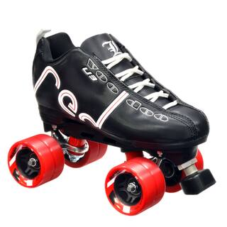 Labeda Voodoo U3 Quad Customized Black Roller Speed Skates with Red Dart Wheels|https://ak1.ostkcdn.com/images/products/10335839/P17445911.jpg?impolicy=medium