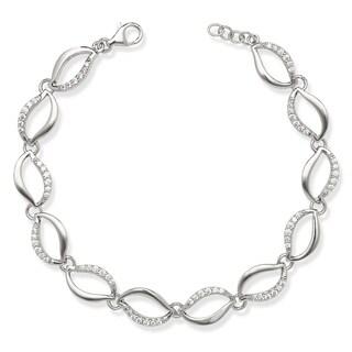 La Preciosa Sterling Silver Cubic Zirconia Oval Link Bracelet