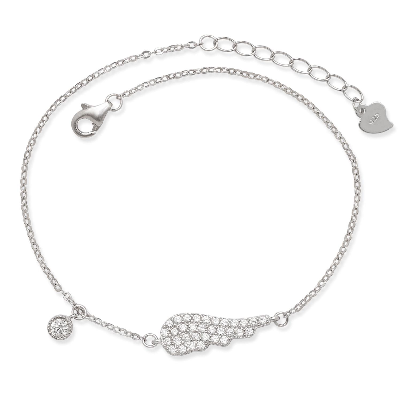 La Preciosa Sterling Silver Cubic Zirconia Angel Wing Bracelet