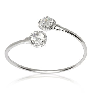 La Preciosa Sterling Silver Circle Cubic Zirconia Cuff Bangle