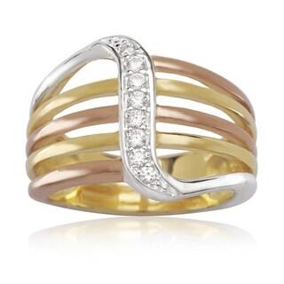 La Preciosa Sterling Silver Tri-color 3-strand Cubic Zirconia Designed Ring (3 options available)