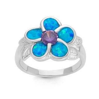La Preciosa Sterling Silver Created Blue Opal and Amethyst Cubic Zirconia Flower Ring