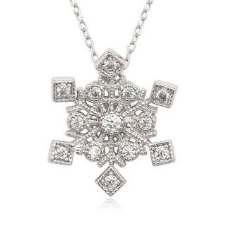 La Preciosa Sterling Silver Cubic Zirconia Snowflake Necklace